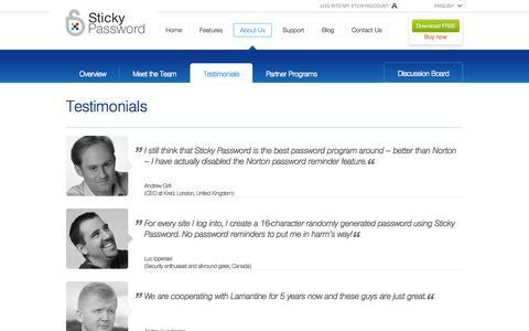 Screenshot of Testimonials Page stickypassword.com - About us - testimonials - captured Sept. 22, 2014