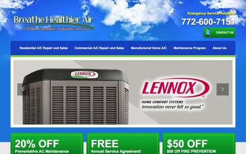 Screenshot of Home Page breathehealthierair.com - Air Conditioning in Stuart FL for A/C Repair Sales & Purification - captured Sept. 30, 2016