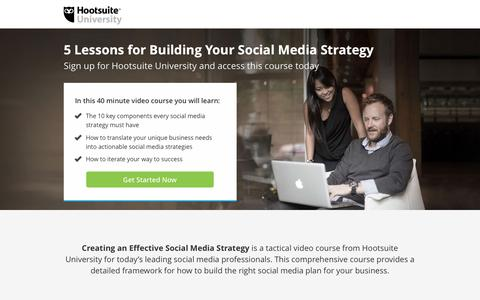 Screenshot of Landing Page hootsuite.com - 5 Lessons for Building Your Social Media Strategy - captured Nov. 30, 2016