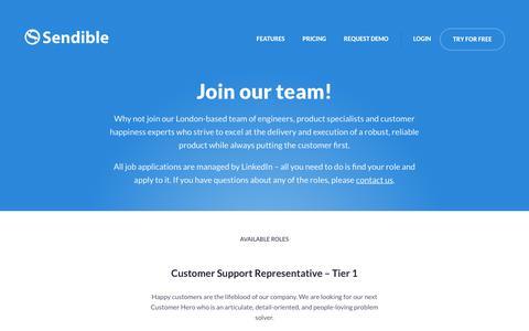 Screenshot of Jobs Page sendible.com - Join The Team | Sendible - captured June 20, 2017