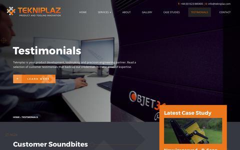 Screenshot of Testimonials Page tekniplaz.com - Customer Feedback & Project Testimonials - captured Nov. 6, 2017