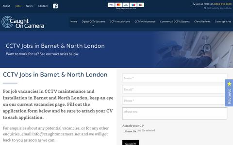 Screenshot of Jobs Page caughtoncamera.net - New Jobs | CCTV Systems in Barnet, North London, Cambridge | Caught On Camera - captured Sept. 27, 2018