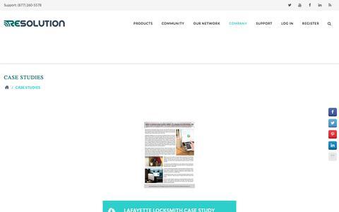 Screenshot of Case Studies Page resolutionproducts.com - Case Studies   Resolution Products - captured Oct. 25, 2017