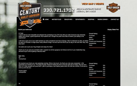 Screenshot of Testimonials Page centuryhd.com - Testimonials | Century Harley-Davidson® | Medina Ohio - captured Oct. 2, 2014