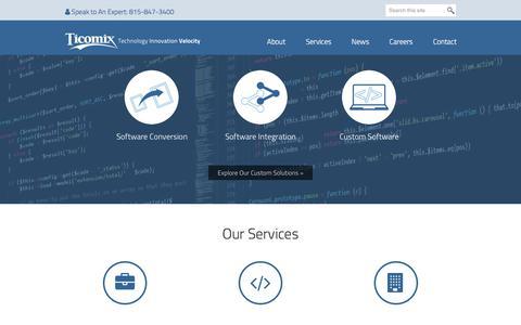 Screenshot of Home Page ticomix.com - Ticomix - ServiceNow, Cisco, Custom Software, IT Managed Services - captured June 25, 2018