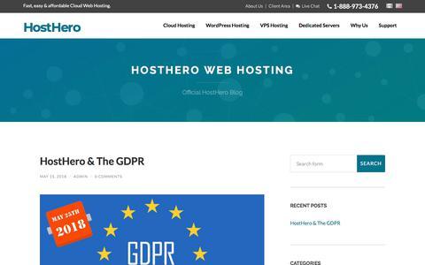 Screenshot of Blog hosthero.com - HostHero Web Hosting - Official HostHero Blog - captured July 22, 2018