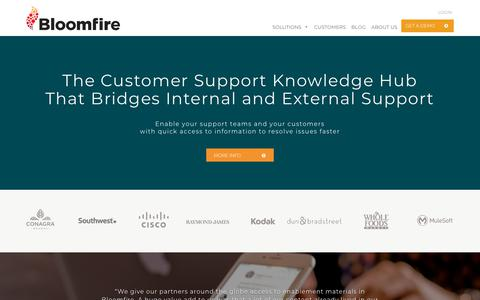 Screenshot of Support Page bloomfire.com - Knowledge Sharing Tools for Customer Support - captured Oct. 5, 2018