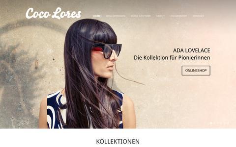 Screenshot of Home Page coco-lores.com - COCO LORES - captured Sept. 26, 2014