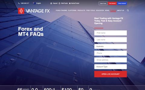 Screenshot of Support Page vantagefx.com - Online Forex Trading Troubleshooting, Help & FAQs - captured Aug. 4, 2017