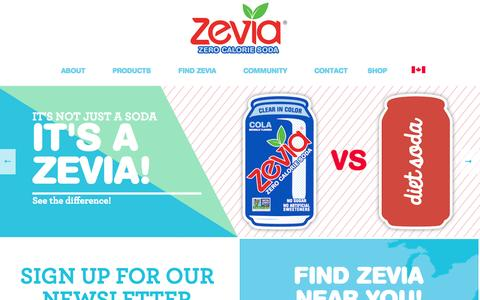Screenshot of Home Page zevia.com - Zevia Zero Calorie Soda | No Artificial Sweeteners. The Smarter Soda Alternative to Diet Soda - captured Nov. 3, 2015