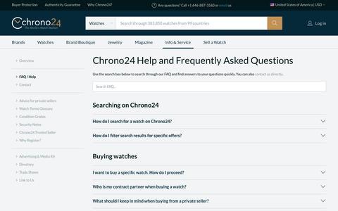Screenshot of FAQ Page chrono24.com - Chrono24 - Info/Service - FAQ / Help - captured July 5, 2018