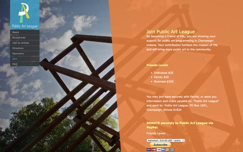 Screenshot of Signup Page publicartleague.org - Join | Public Art League - captured Sept. 30, 2014