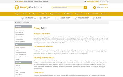 Screenshot of Privacy Page trophystore.co.uk - Trophies, Medals and Awards   Trophy Store - captured Sept. 24, 2014