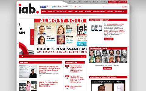 Screenshot of Home Page iab.net - IAB - Empowering the Media and Marketing Industries to Thrive in the Digital Economy - captured Sept. 18, 2014