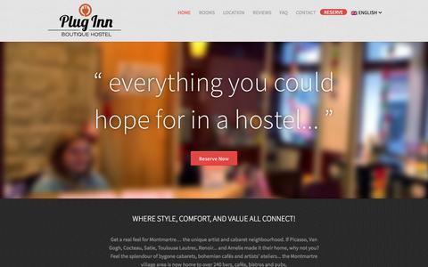 Screenshot of Home Page plug-inn.fr - Plug-Inn Boutique Hostel Paris - captured Jan. 26, 2015