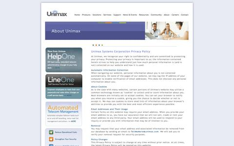 Screenshot of Privacy Page unimax.com - Unimax – Unifying Voice Administration - captured Oct. 27, 2014