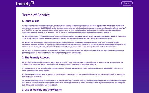 Screenshot of Terms Page framely.co - Terms of Service | - captured Oct. 6, 2014