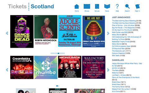 Screenshot of Home Page tickets-scotland.com - Tickets Scotland - captured Dec. 29, 2017
