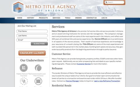 Screenshot of Services Page metrotitleaz.com - Services - Metro Title Agency of Arizona - captured Oct. 27, 2014