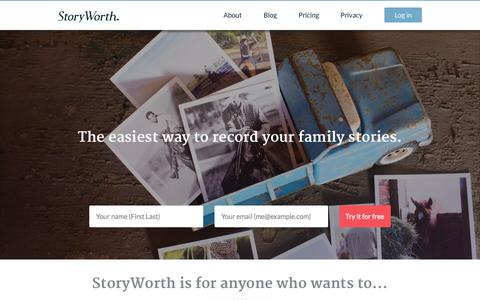 Screenshot of Home Page storyworth.com - The easiest way to record your family stories. – StoryWorth - captured Aug. 4, 2015