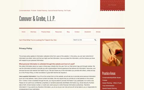 Screenshot of Privacy Page grebeprobatelaw.com - Privacy Policy | Conover & Grebe, LLP | Torrance California - captured Oct. 3, 2014