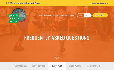 Screenshot of FAQ Page brooklynkids.org - Frequently Asked Questions - Brooklyn Children's Museum - captured June 25, 2017