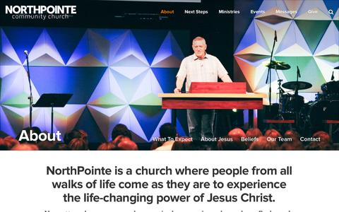 Screenshot of About Page northpointe.org - About - NorthPointe Community Church - captured Oct. 7, 2014