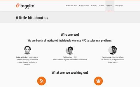 Screenshot of About Page taggito.com - A little bit about us - Taggito - captured Oct. 7, 2014