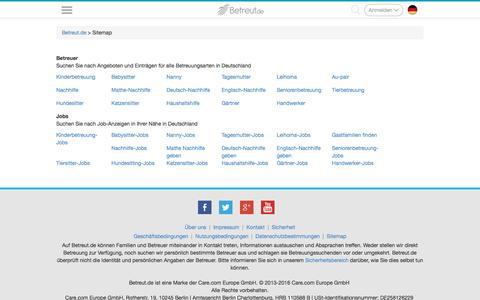 Screenshot of Site Map Page betreut.de - Sitemap - captured Nov. 22, 2016