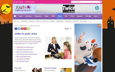 Screenshot of Jobs Page netmums.com - Jobs and working mum - Netmums - captured Oct. 26, 2014