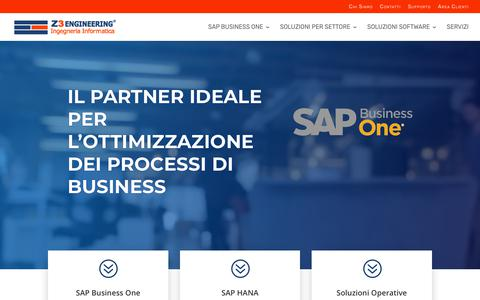 Screenshot of Home Page z3engineering.it - Z3 Engineering - Soluzioni SAP Business One, Software Gestionale PMI - captured Nov. 15, 2018