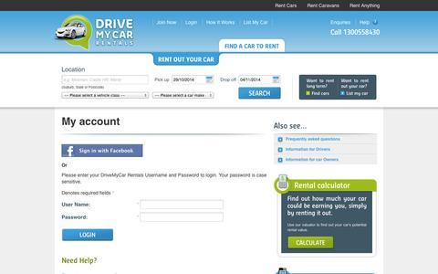 Screenshot of Login Page drivemycarrentals.com.au - Login | DriveMyCar Rentals - captured Oct. 27, 2014