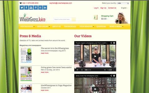 Screenshot of Press Page livewheatgrass.com - LiveWheatgrass - captured Oct. 3, 2014