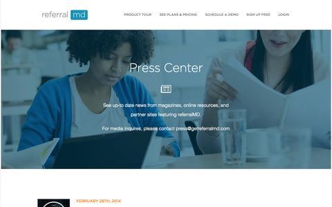 Screenshot of Press Page getreferralmd.com - News and Press resources | referralMD - captured Oct. 31, 2014