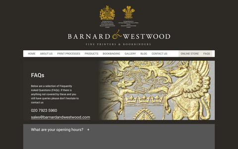 Screenshot of FAQ Page barnardandwestwood.com - FAQs | Fine Printers & Bookbinders | London | Barnard & Westwood - captured Dec. 30, 2015