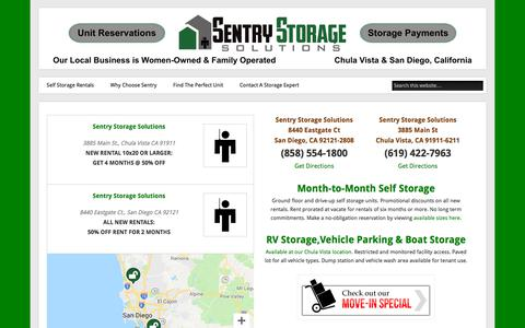 Screenshot of Home Page sentrystorage.net - Self Storage in Chula Vista and San Diego | Sentry Storage Solutions - captured Sept. 25, 2018