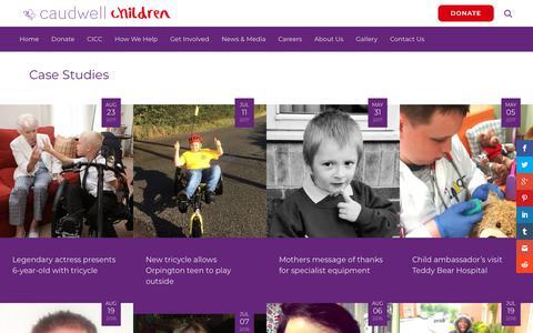 Screenshot of Case Studies Page caudwellchildren.com - Case Studies - Caudwell Children - captured July 16, 2018