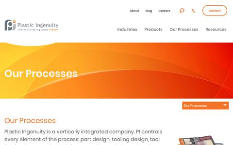 Screenshot of Services Page plasticingenuity.com - Our Processes | Plastic Ingenuity - captured July 19, 2018