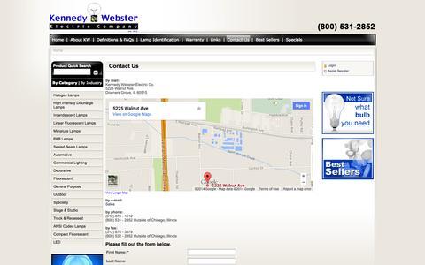 Screenshot of Contact Page kennedywebster.com - Kennedy Webster  Light Bulbs | Halogen Bulbs | Germicidal Bulbs | Flourescent Light Bulbs | Stage Studio TV Lamps - captured Oct. 8, 2014