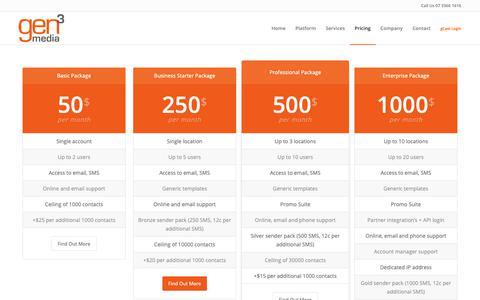 Screenshot of Pricing Page gen3media.com - Pricing – Gen3Media | Retention Marketing Automation - captured Oct. 21, 2018