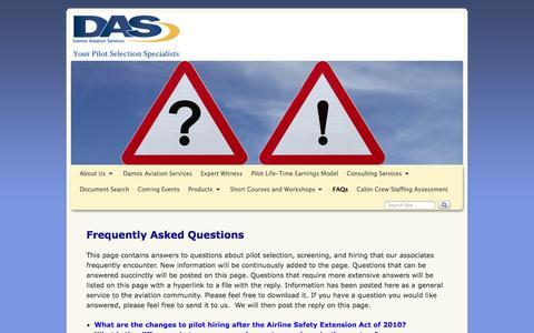 Screenshot of FAQ Page damosaviation.com - FAQs - Damos Aviation Services - captured Oct. 27, 2014
