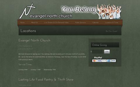Screenshot of Locations Page evangelnorth.net - Locations | Evangel North Church - captured Jan. 31, 2016