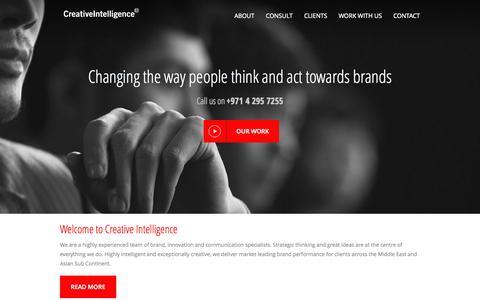 Screenshot of Home Page creativeintelligence.info - Home - captured Jan. 27, 2015