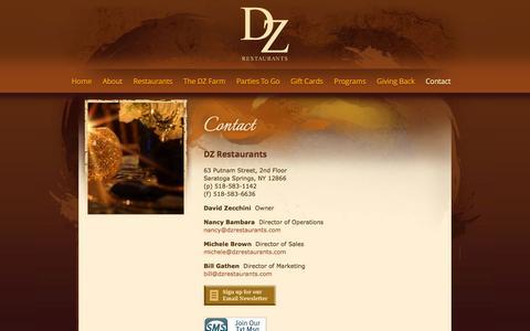 Screenshot of Contact Page dzrestaurants.com - Contact - captured Oct. 5, 2014