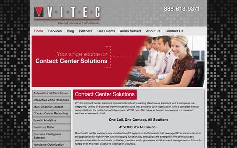 Screenshot of Home Page vitecinc.com - Contact Center Solutions | Vitec, Contact Center Solutions - captured Sept. 4, 2015