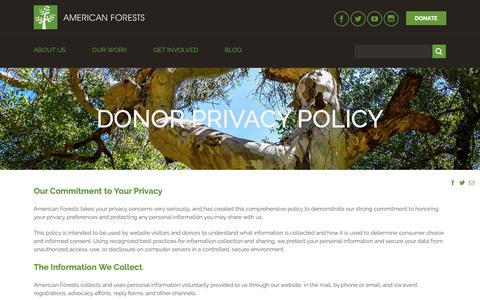 Screenshot of Privacy Page americanforests.org - Donor Privacy Policy - American Forests - captured Nov. 6, 2018
