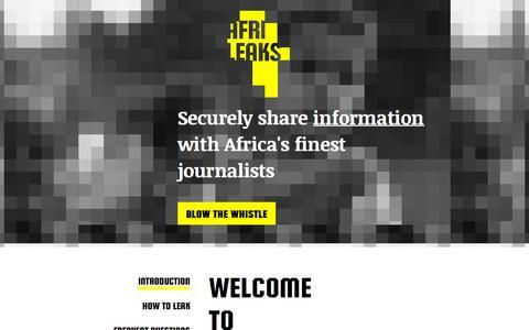Screenshot of Home Page afrileaks.org - AfriLEAKS - A secure whistleblowing platform for African media - captured Sept. 19, 2015