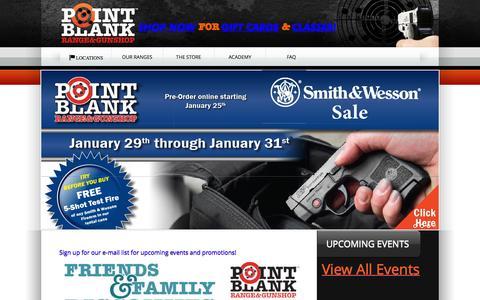 Screenshot of Home Page shootpointblank.com - Point Blank Indoor Shooting Range & Gun Shop | Cincinnati Ohio - captured Jan. 30, 2016