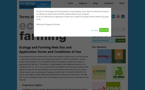 Screenshot of Terms Page ecologyandfarming.com - Terms of Use - Ecology and Farming - captured Sept. 29, 2014