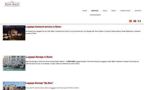 Screenshot of Services Page bon-bags.com - Luggage transport in Rome, in Italy in Europe - Bon-Bags - captured Sept. 3, 2016
